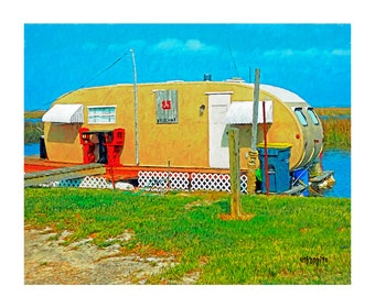 Vintage Fifties House Trailer, Spartanette, Houseboat, Fishing Camp, Pascagoula River 8x10 11x14 16x20 Giclee Print ~ Korpita