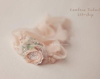 Cambria Tieback, Chiffon Flower Tieback, Newborn Photo Prop, Newborn Flower Headband, Peach Newborn Tieback