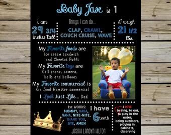 King Crown 1st Birthday Chalkboard - 1st BIRTHDAY KING Customized Chalkboard - 1st Birthday Chalkboard Poster