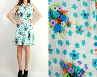 Vintage 60s Dress / Vintage Floral Dress / Flared Dress / Sleeveless Dress / Accordion Dress / Summer Dress / Diolen Loft Dress Size 38