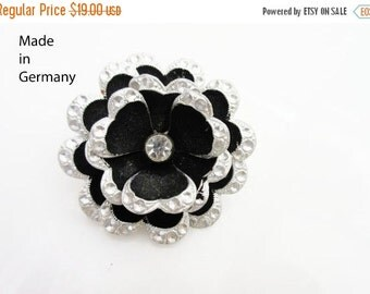 Germany Flower brooch - Rhinestone - Black Enamel - Aluminum silver