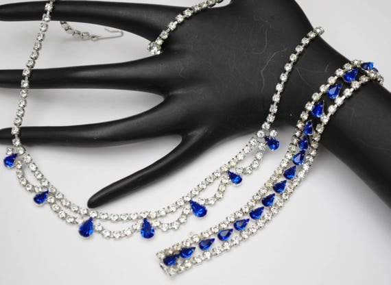 Blue Rhinestone Necklace and Bracelet - B David signed - Silver tone - Jewelry Set - Mid Century -Wedding Bride