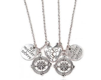 Compass Necklace - no matter where - mother and daughter - Mother's Day - Set of 2 Necklaces