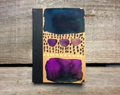 Pocket notebook, purple, blue and black hand painted traveller's journal, watercolour notebook