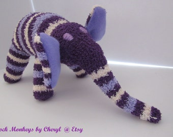 Sock Elephant Fuzzy Purple Striped Soft Plush Doll Handmade