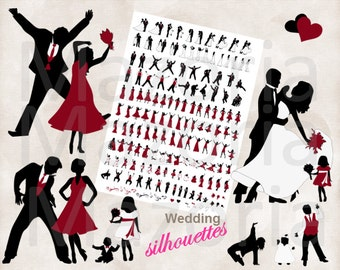 NEW Silhouette dancing wedding bridal party 156 Silhouettes INSTANT DOWNLOAD Black & Apple Red diy invitations and programs clip art 300ppi