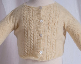 1960s infant baby cardigan. Yellow, clean, 4 little shell button. Retro, midcentury, traditional. Doll clothes.