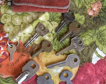 Vintage Lot of Assorted Metal Keys-House/Car/Luggage-With Red Leather Key Holder