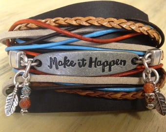 Make It Happen Leather Wrap Bracelet | Bohemian Style Stacked look Wrap Bracelet | Tribal Beach Surf Wear | Inspirational Yoga Bracelet