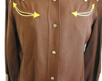 "Vintage Gabardine Western Shirt - ""H and C, RANCHWEAR, California Styled"" Brand - Cowgirl Swag at its Best! - On Sale"