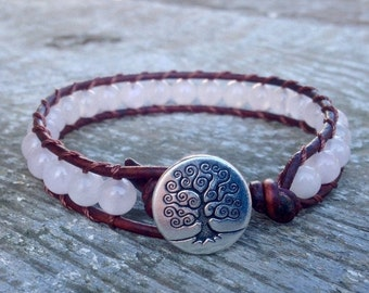 ON SALE pink rose quartz beaded leather wrap bracelet with tree of life heart chakra for women and girls
