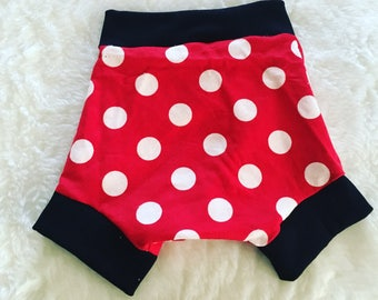 Shorties, flannel, cotton diaper cover,  nb, size 3, 6, 9, 12, 24 months, 2T