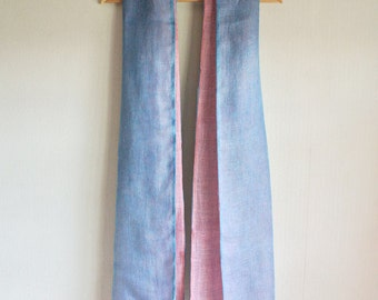 Natural dyed Indigo light blue and Pink Cochineal double faced Linen scarf