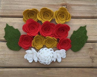 Handmade Wool Felt Flowers, Mustard, Red and White