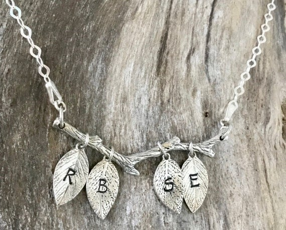 Branches - Tree Branch - Branch Necklace -Sterling Silver -Twig Necklace - Leaf Necklace - Tree Necklace -Nature Necklace - Initial Necklace