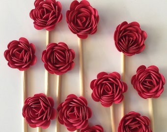 24 Pcs 3D RED ROSETTES Cupcake Toppers - Birthday Party, Cupcake Toppers, Bridal Shower, Wedding
