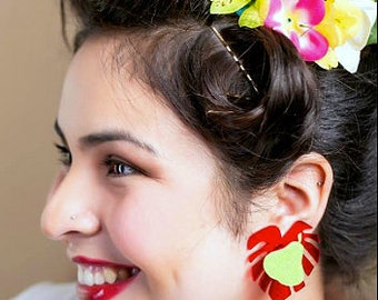 GREEN PEAR & Red LEAF Pin Up Style Custom Laser Cut and Engraved pair of Stud Earrings