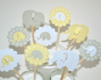12 Elephant Cupcake Toppers / Elephant Baby Shower / Elephant Baby Shower Invitation / Elephant Birthday Invitation / Elephant Party