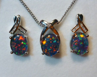 Natural Opal Pendant & Earring Matching Set, Sterling Silver #110426.