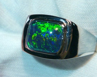 Mens Opal Ring Sterling Silver, Natural Opal Triplet. 10x8mm Rectangle. item 060587