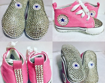 SALE Swarovski crystal embellished bling pink converse baby girl infant crib shoes size 3