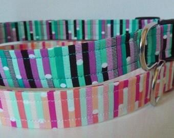 """Dog Collar - Pink, Blue, Orange or Turquoise, Jade, Black and Pink Stripe/Geometric Collar """"Bonn"""