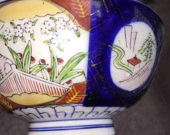 Oriental Painted Bowls Vintage Decorative Chinese and Japanese Soup Bowls