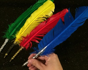 House colors quills feather pens ravenclaw gryffindor Slytherin Hufflepuff
