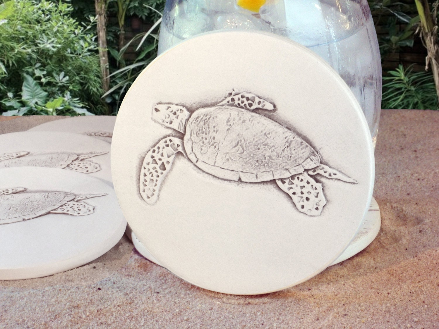 Sea turtle drink coasters absorbent coasters beach house - Drink coasters absorbent ...