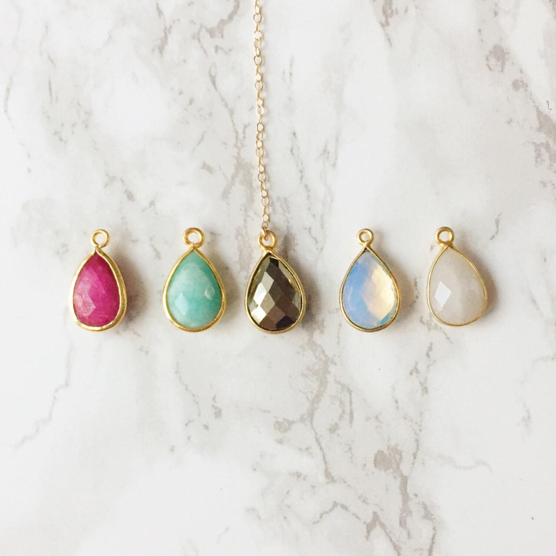 Triangle Teardrop Lariat Necklace (Choose a Color)