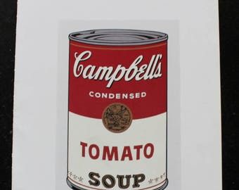 """Andy Warhol's Campbell's Soup-1968 book plate page - unframed ,heavy paper from MOMA book -page size 11"""" x 14 """" image size 6 1/2"""" x 10"""""""