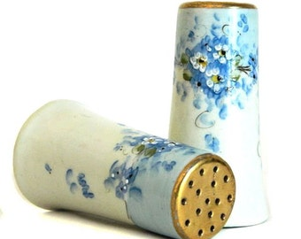 Antique Hand Painted Porcelain Salt and Pepper Shakers Forget-Me-Nots