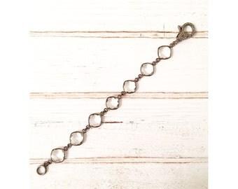 Crystal quartz cushion bezel chain bracelet with pave diamond lobster clasp