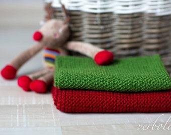 Italian Wool Mini Blanket Set of 2/Newborn Photo Prop/Green and Red Baby blankets