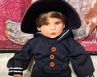"""Vintage Lee Middleton Stamped Classic Doll """"Irish Boy Minature"""", Made in USA"""