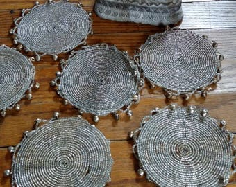 6 Silver Beaded Coaster With Bells From India Boho Gypsy Home Decor