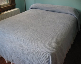 Vintage Chenille Bedspread, Pale Blue, Double/Queen