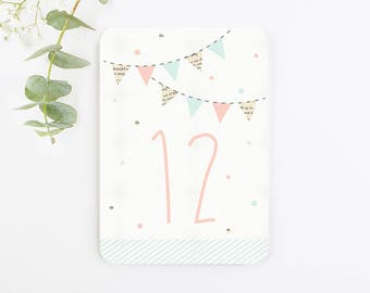 Bunting and Spots Wedding Table Number