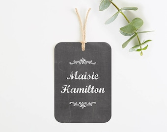 Chalkboard luggage tag place card