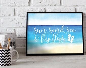 Sun Sand Sea and Flip Flops Poster Print Wall Art Decor