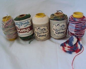 Gimp for knitting, crocheting and embroidery, 5 spools, 1940's