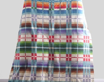 Vintage Southwestern Wool Blanket Double Sided Native American Plaid