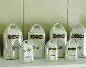 Bavarian Iridescent Canister Set, 4 Canisters, 3 Spice Canisters, Set of Oil & Vinegar, Vintage, Made in Germany for M. Rosenbaum of NY