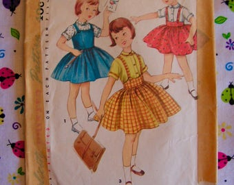 Jumper Skirt Blouse Child Size 2 chest 21 Simplicity 1702 vintage 1950s cut used complete sewing pattern