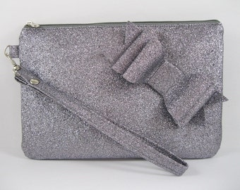 SUPER SALE - Gray Glitter Little Bow Clutch - Bridal Clutch, Bridesmaid Clutch, Wedding Clutch, Wedding GIft - Made To Order