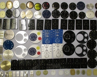 Steampunk Lot 100 Mostly NOS New-Old-Stock Mint Condition Vintage Various Brand Colored Watch Dials Faces for 17 Jewel & Quartz Movements