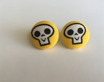 Yellow Skull Button Earrings