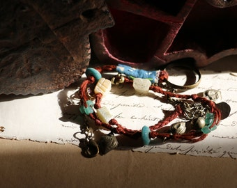 """Necklace  - Ethnic bracelet : """"a blue night in the red desert"""" II"""
