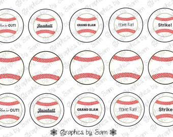 """1"""" DIGITAL Bottle Cap IMAGES ~ BASEBALL ~For Use On Finished Products Only"""