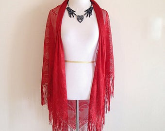 Vintage Red Lace Shawl Goth Strega Dark Mori